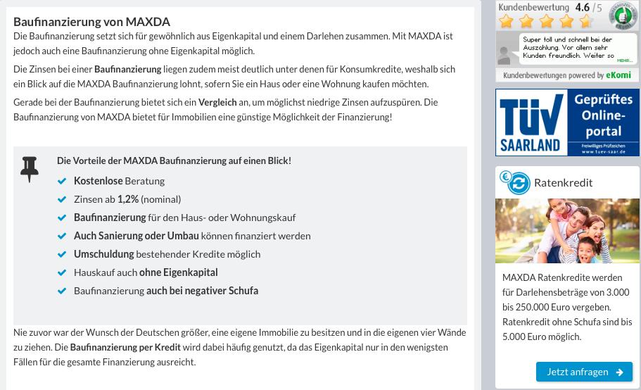 MAXDA Baufinazierung