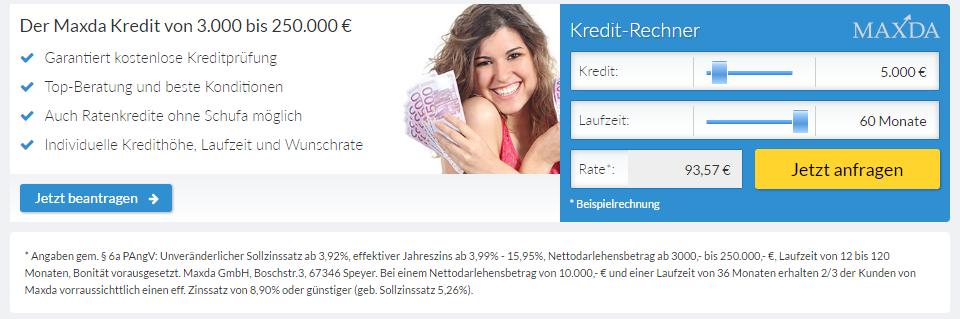 maxda kreditrechner