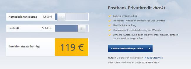 postbank monatsrate