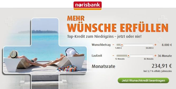 Norisbank Wunschkredit festlegen