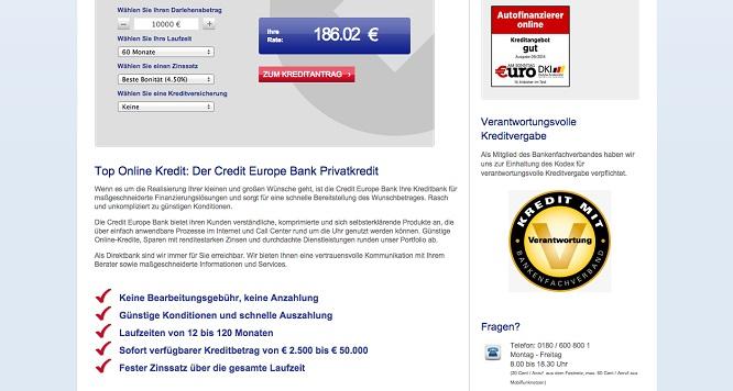 Credite-Europe-Bank Schnellübersicht