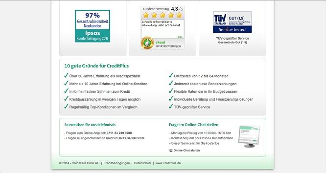 Creditplus Bank Schnellübersicht