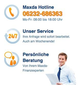 Der Kundenservice von Maxda: Über Festnetz-Hotline erreichbar