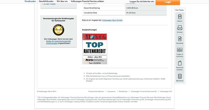 VW-Bank Auszeichnung von Focus Money