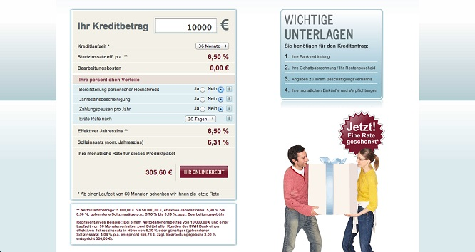 Der Kreditrechner von onlinekredit.de