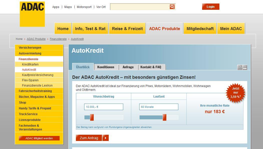 Die ADAC Homepage zum Autokredit
