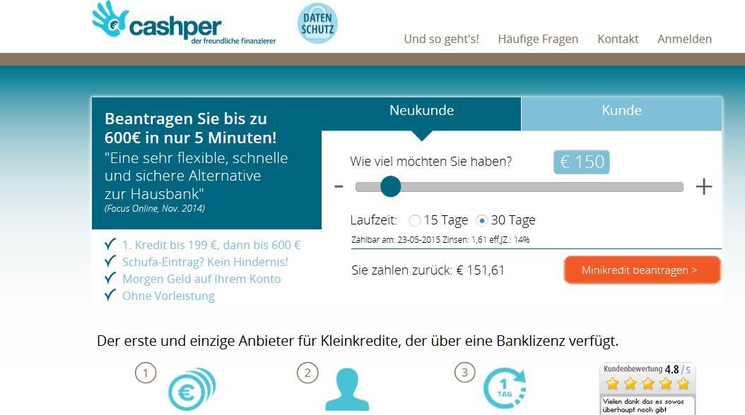 Homepage von Cashper