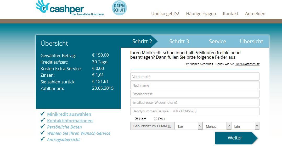 Die Beantragung bei Cashper.de