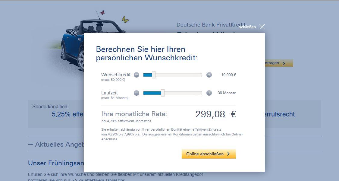 Kreditrechner der Deutschen Bank