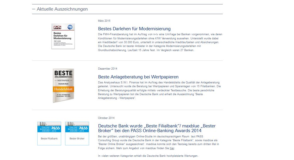 Die aktuellen Auszeichnungen der Deutschen Bank