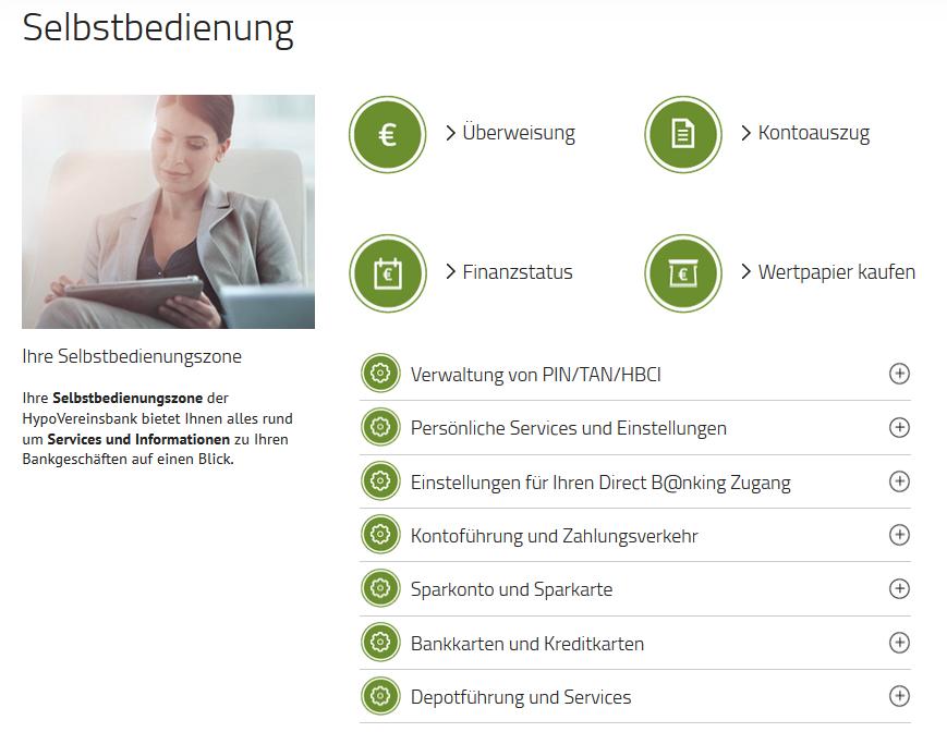 Online-Banking bei der Hypovereinsbank