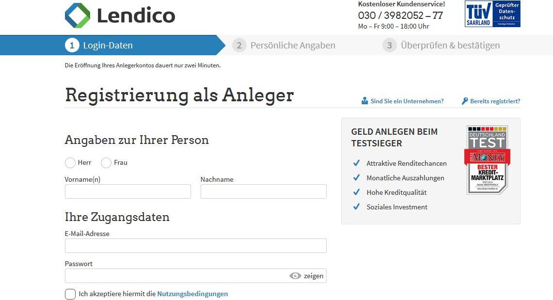 : Das Registrierungsformular für Anleger bei Lendico