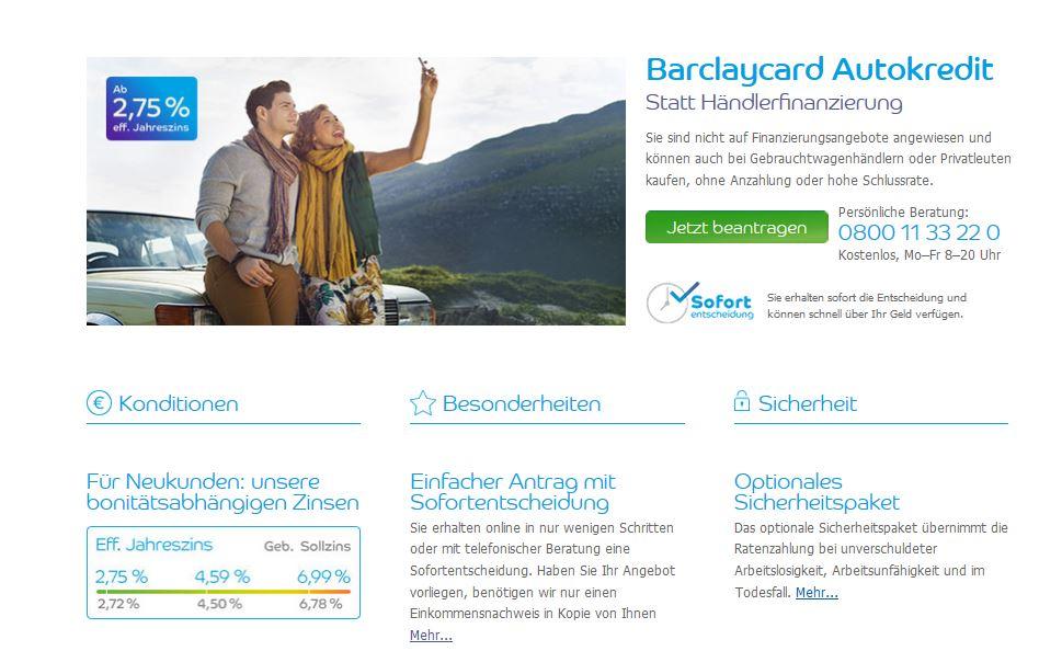 Barclaycard Autokredit