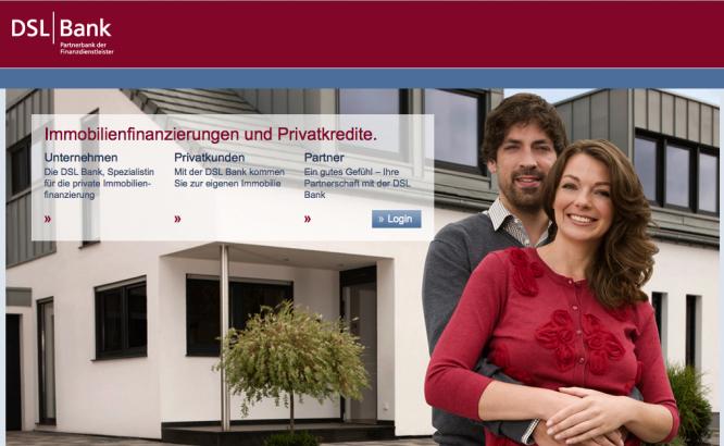 Homepage von der DSL Bank