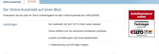 Homepage von Targobank 2