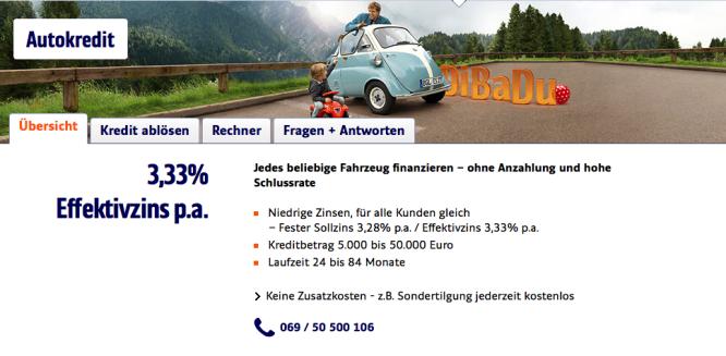 Homepage von ING-DiBa 1