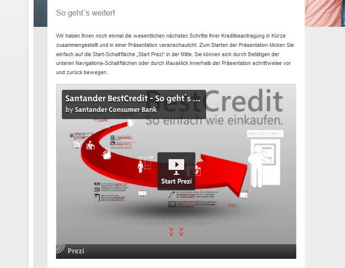 Tutorial zur Kreditbeantragung bei der Santander Consumer Bank