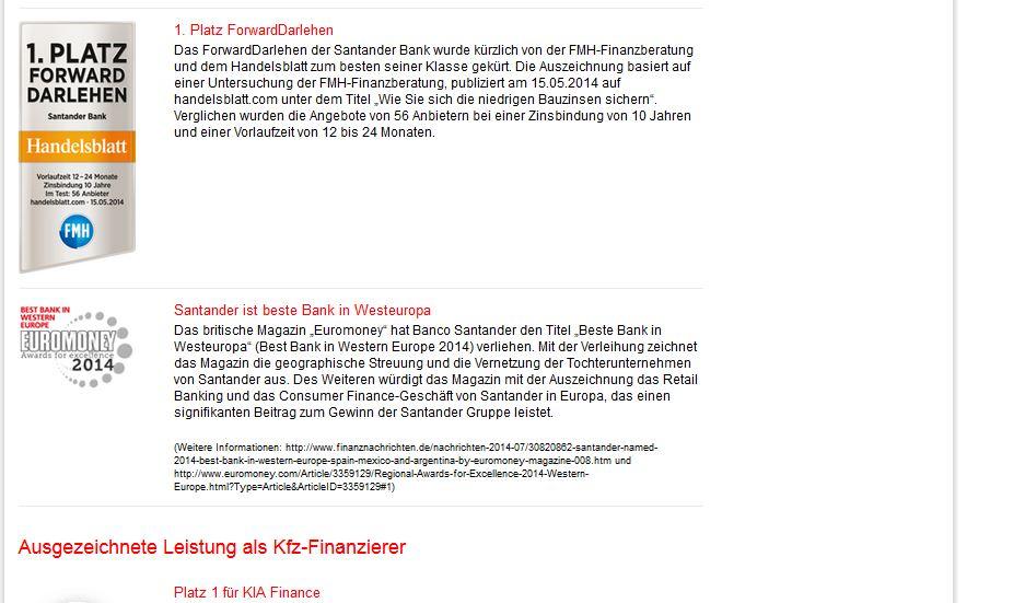 Testurteile zur Santander Bank von Handelsblatt und Euromoney
