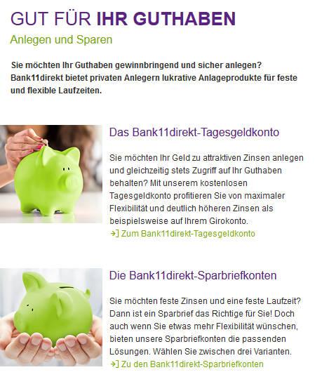 Bank11direkt Kontenübersicht