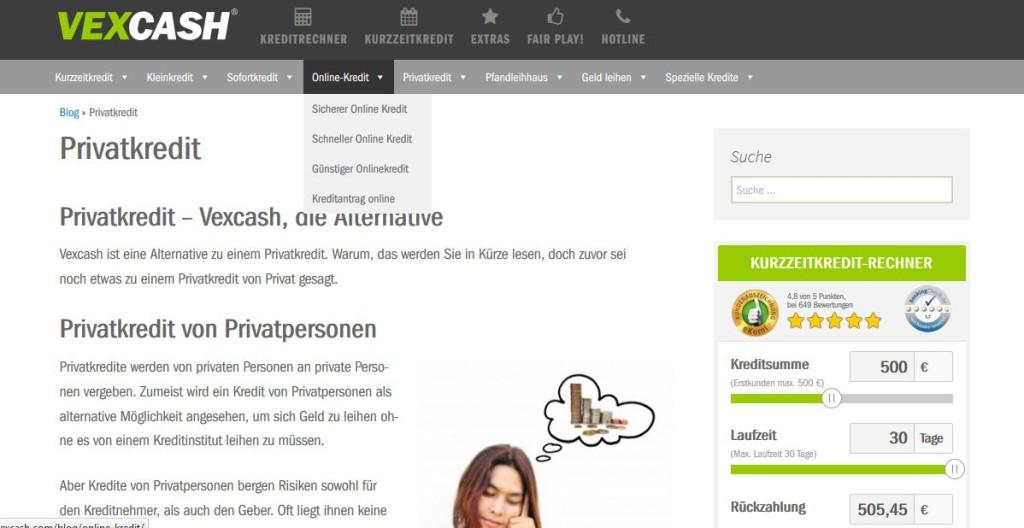 Die Webseite von Vexcash mit vielen Informationen