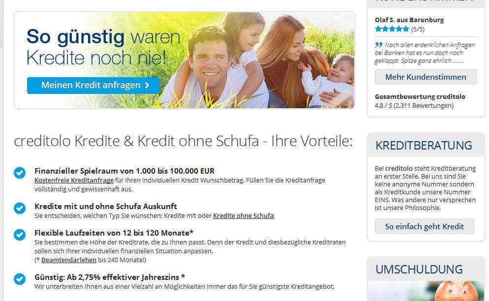 Kredit ohne Schufa bei Creditolo
