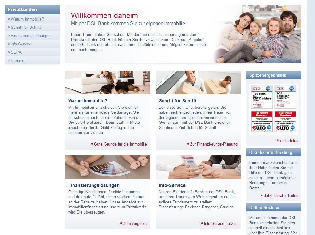 Die Webseite des DSL Bank