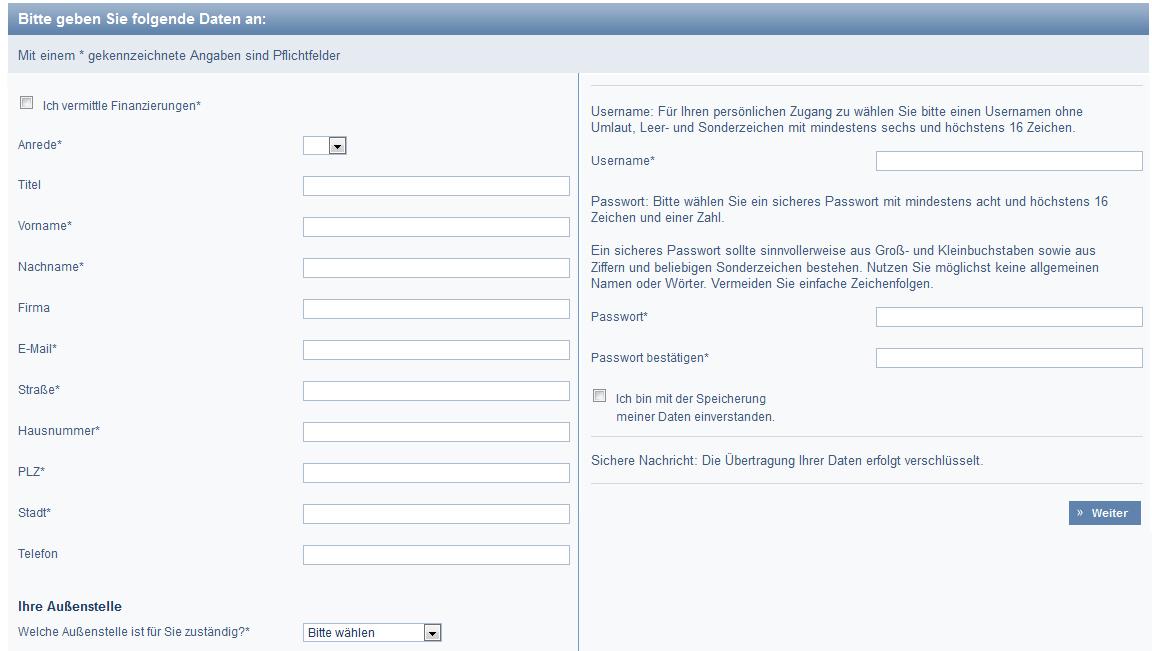 Die Registrierung bei der DSL Bank