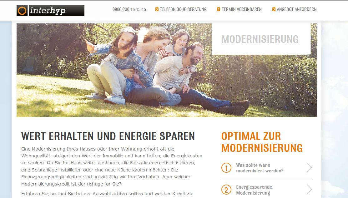 das ist die Webseite von interhyp Modernisierung