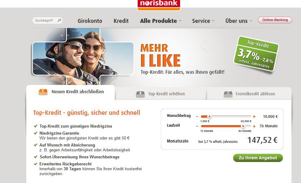 das ist die Webseite der Norisbank