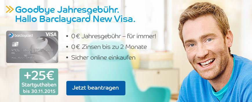 Keine Jahresgebühr bei der Barclaycard New Visa!