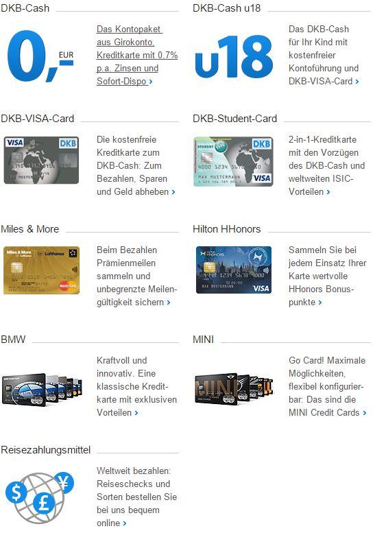 Großes Kartenportfolio bei der DKB.