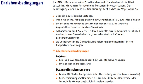 Bedingungen zum ING DiBa Baugeld