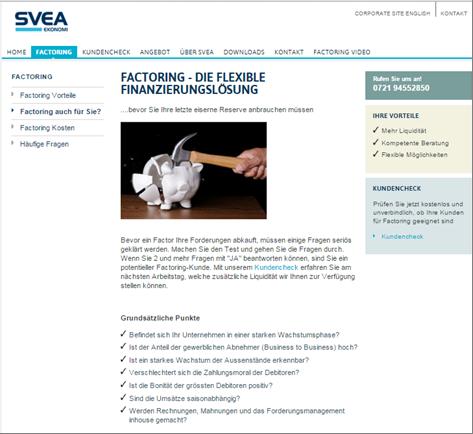 Der Homepage von SVEA Ekonomi