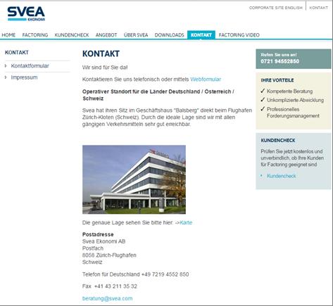 Die Kontaktmöglichkeiten bei SVEA Ekonomi