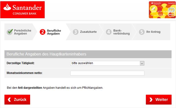 Gestaltung Formular Santander SunnyCard