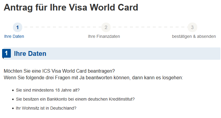 Ansicht Antrag VISA World Card