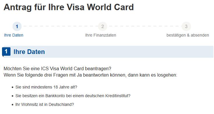 Ansicht Antrag VISA World Card