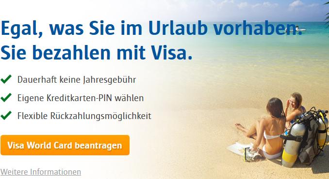 VISA World Card Bezahlen im Urlaub