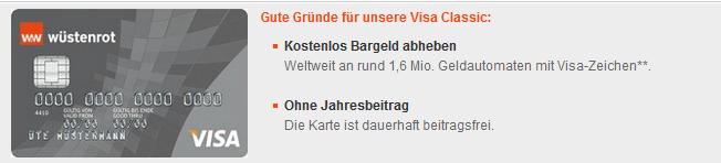Wüstenrot Bank VISA ohne Jahresgebühr