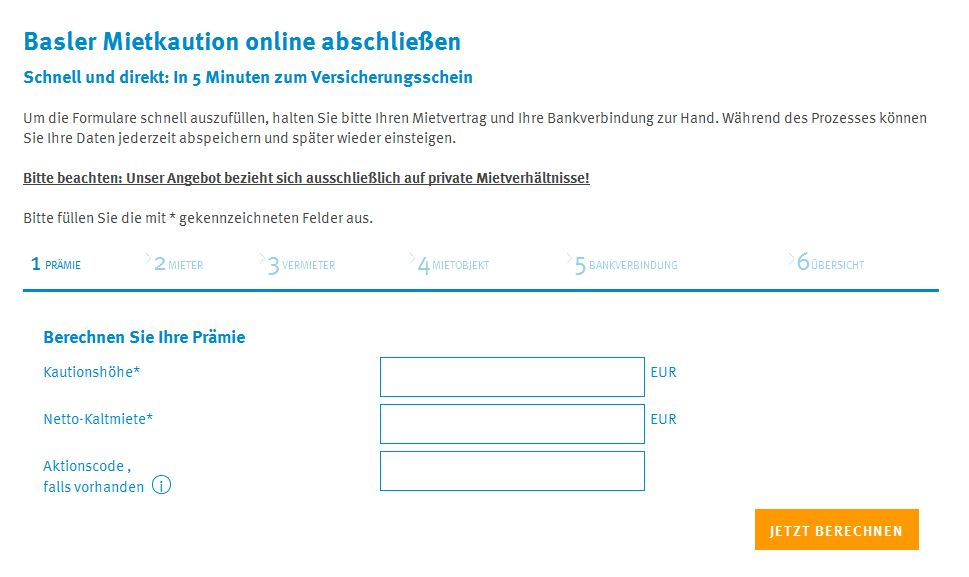 Online-Formular für die Basler Mietkaution