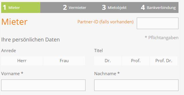 Anmeldung und Formular bei kautionsfrei.de