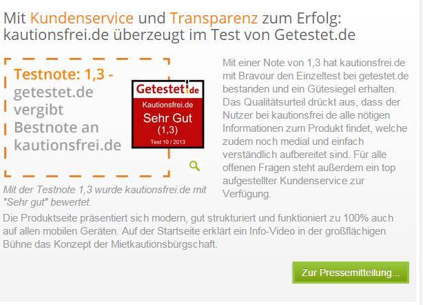Testnote 1,3 von getestet.de