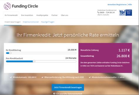 Die Homepage von Funding Circle