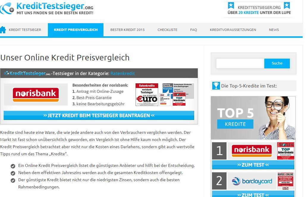 Kredite vergleichen lassen bei kredittestsieger.org