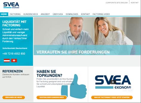 Homepage von SVEA Ekonomi