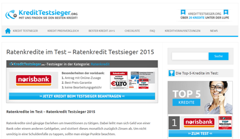 Der Ratenkredittestsieger bei Kredittestsieger.org