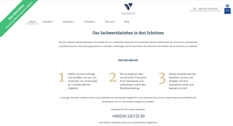 Die Startseite von Valendo