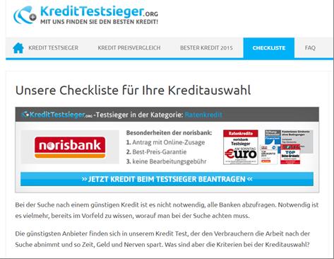 Die Checkliste von Kredittestsieger.org