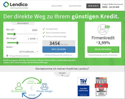 Die Homepage von Lendico