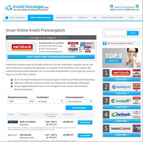 Die Homepage von Kredittestsieger.org